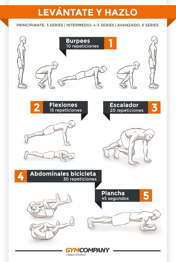 Ejercicios para tonificar abdominales, brazo, pecho y core